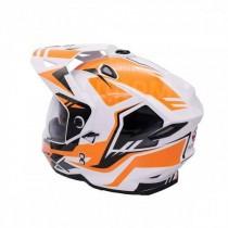 Шлем KIOSHI Fighter Мотард с очками (белый/оранжевый р-р L)