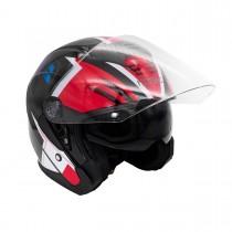 Шлем KIOSHI 526 Solid Открытый со стеклом и очками (черный/красный М)