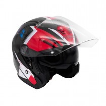 Шлем KIOSHI 516 Solid Открытый со стеклом и очками (черный/красный L)