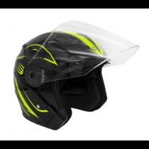 Шлем KIOSHI 516 Solid Открытый со стеклом и очками (черный/желтый S)