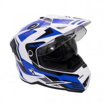 Шлем KIOSHI Fighter Мотард с очками (белый/синий р-р L)