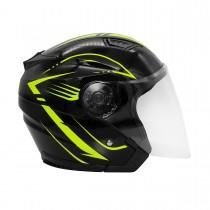 Шлем KIOSHI 526 Solid Открытый со стеклом и очками (черный/желтый M)